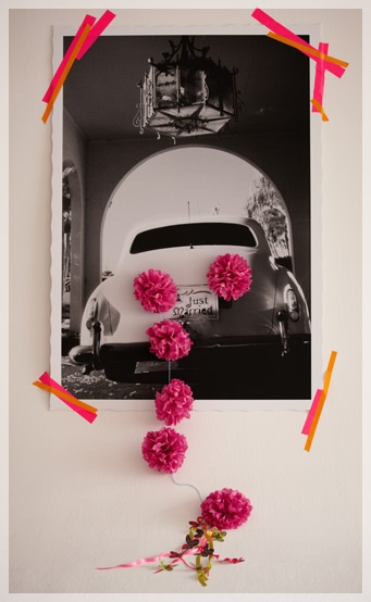 cool just married poster: Idea, Neon Artists, Artists Tape, Black And White, Black White, Neon Tape, Getaways Cars, Bridal Shower Games, Flowers