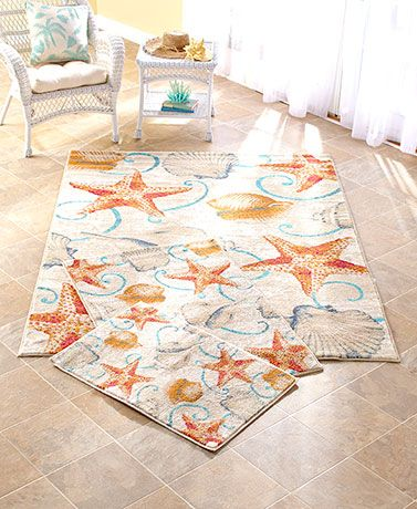 Beach style rugs (like this Coastal Rug Collection) add color, softness and a cozy look to any floor in your coastal cottage home.  What room would you put this in?