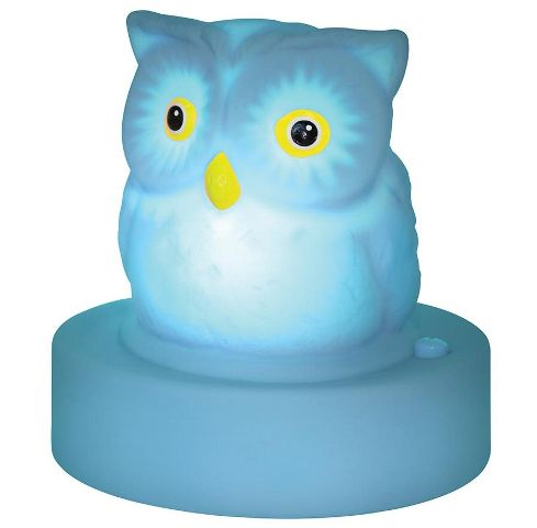 Let this adorable wise blue Owl keep watch over your little one at night!  No need for chord entanglements as the night light is battery operated providing a soft and comforting glow at the press of a button.  3 x AA batteries (not included).  H. 11.5cm