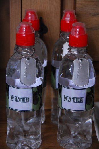 These water bottles would be awesome for a military themed party.
