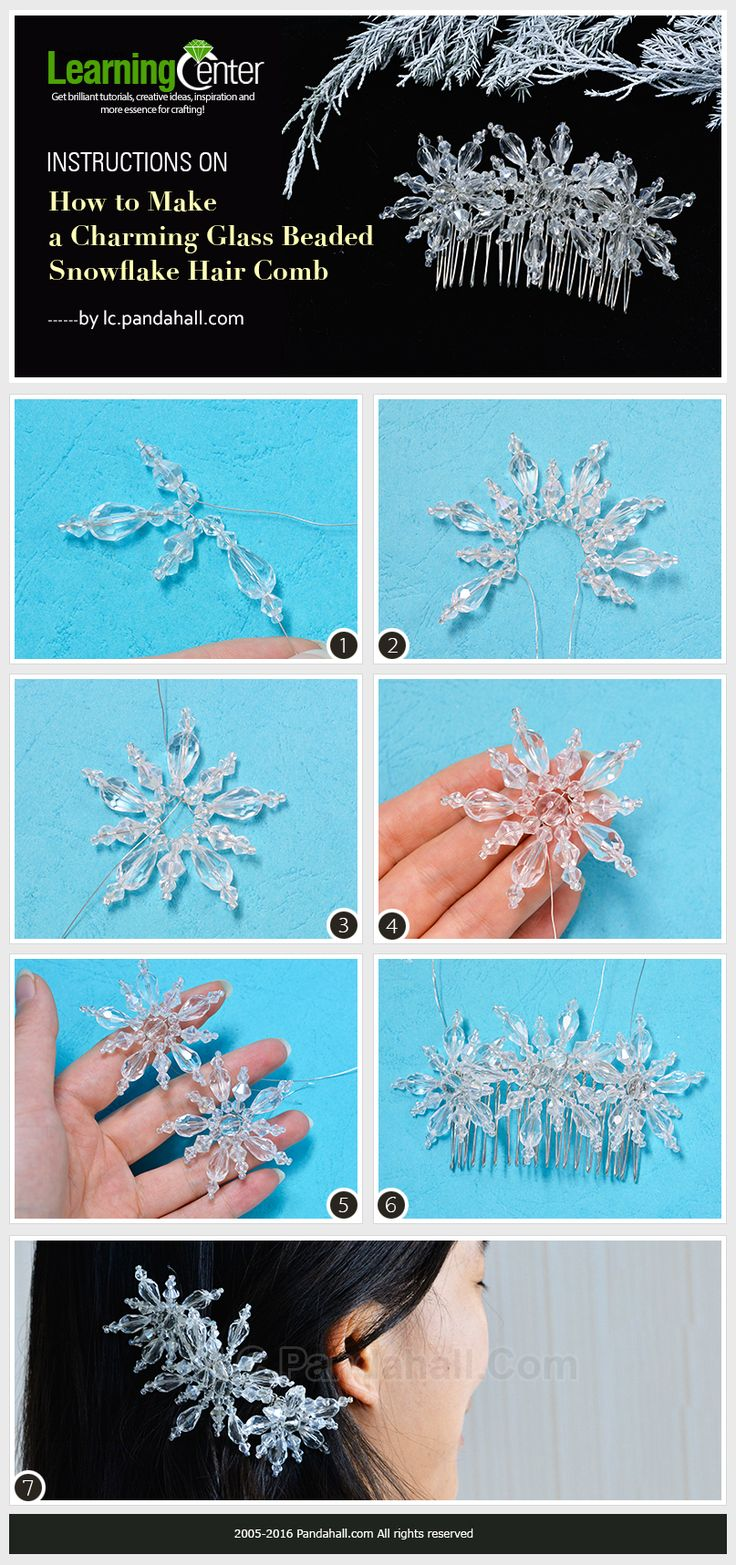 Instructions on How to Make a Charming Glass Beaded Snowflake Hair Comb from LC.Pandhall.com