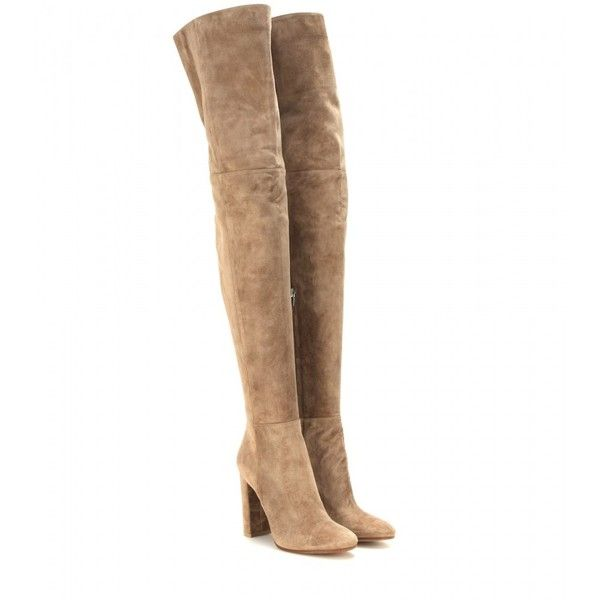 Gianvito Rossi Suede Over-the-Knee Boots ($1,655) ❤ liked on Polyvore featuring shoes, boots, brown, brown suede over the knee boots, above the knee boots, brown over knee boots, over knee suede boots and brown over-the-knee boots