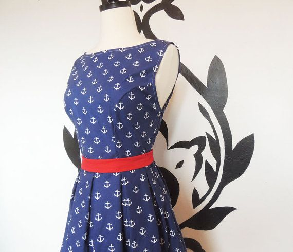 Anchor Dress - Nautical, Navy Blue and Red, Boat Neck,  Vintage Inspired, Womens Dress