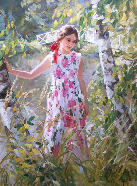 Birches:  Vladimir Gusev, 1957 ~ Plein-air Figurative painter (Russia)