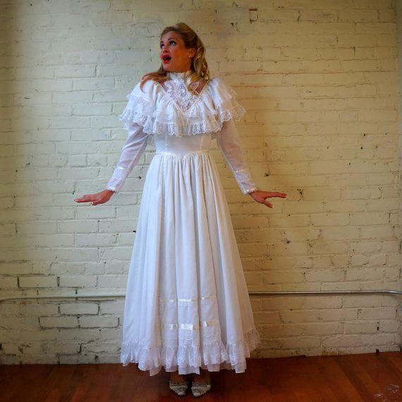 Gunne Sax Dress 70s Peasant Wedding Gown White Gauze