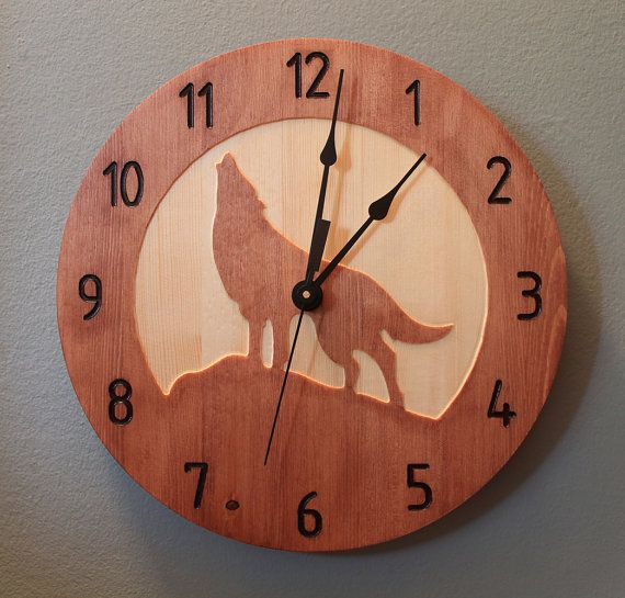 Wolf clock Wood clock Nature clock Wooden by BunBunWoodworking