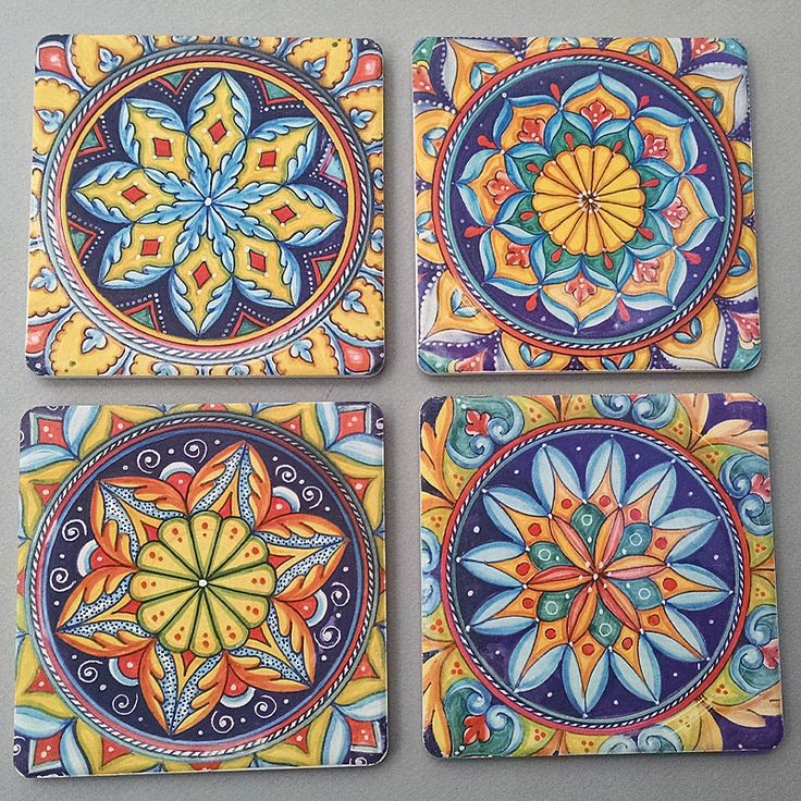 Geometrico Coasterstone Coasters - These sandstone coasters are absorbent enough to soak up all the moisture dripping from your iciest glass, even on the hottest summer days! We designed these coasters ourselves to match our Deruta Geometrico collection, but these sophisticated geometric designs will complement any Italian pottery pattern that you happen to collect. Made from super absorbent sandstone by the CoasterStone (TM) company. Sold exclusively at Italian Pottery Outlet in Santa…