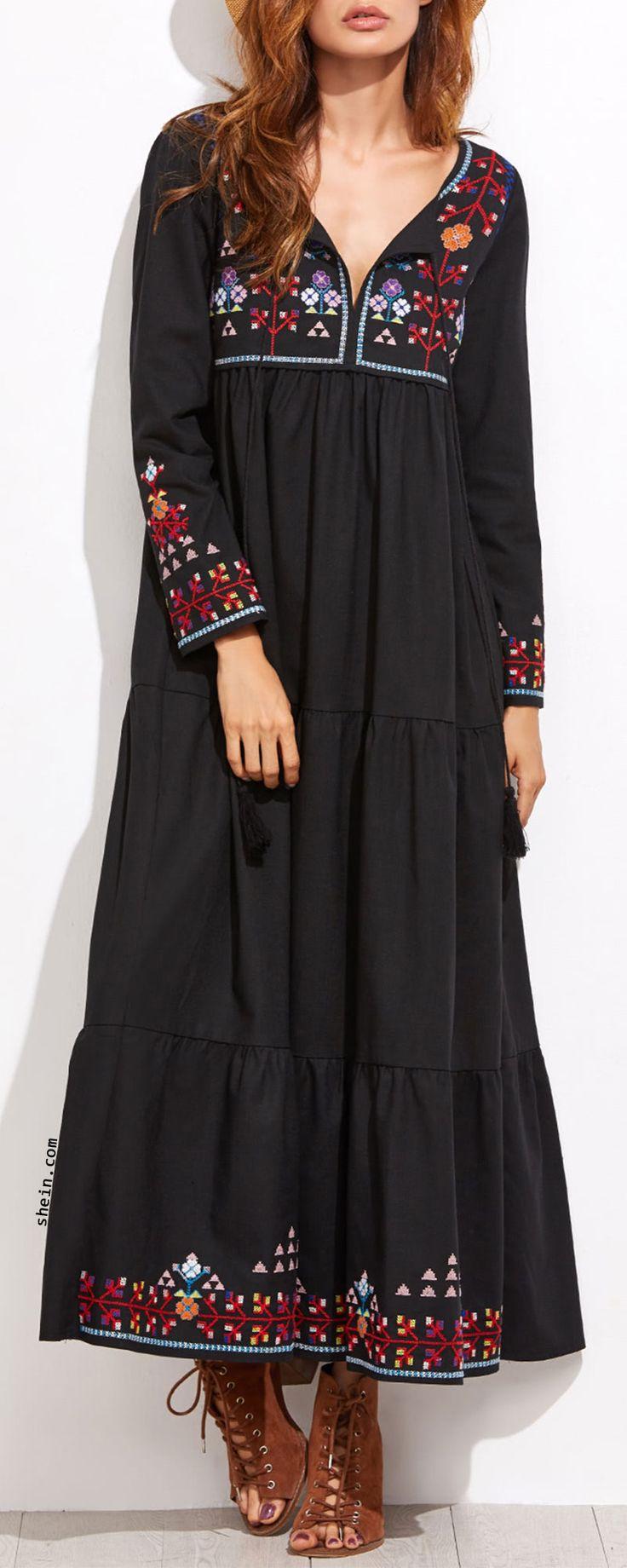 Embroidered Tassel Detail Tiered Seam Dress
