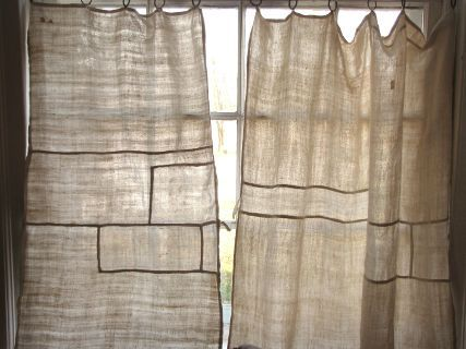 Antique French hand towels that I've made into cafe curtains for my kitchen ~ old linen given a new life ~