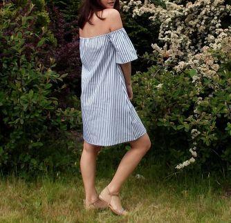 Çizgili Straplez Elbise