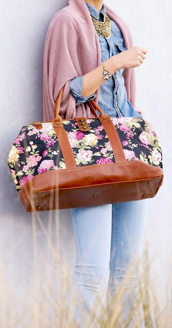 Doctor-inspired weekender bag in a rich floral print