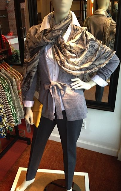 What to Wear: October Events 2013 - J. McLaughlin: Cashmere tie cardigan $298.00; Savannah shirt $128.00; Vanessa pant $195.00; scarf $85.