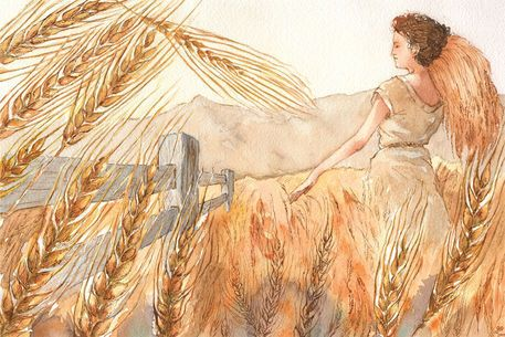 Wheat by Greta Schimmel on artflakes.com as poster or art print $18.44 Illustration; December, 2009  Ink, watercolor on Arches watercolor paper.  This piece depicts the deadly sin of gluttony as a virtue, as the woman depicted here is gathering a plethora of wheat to share--she has transformed gluttony into charity.