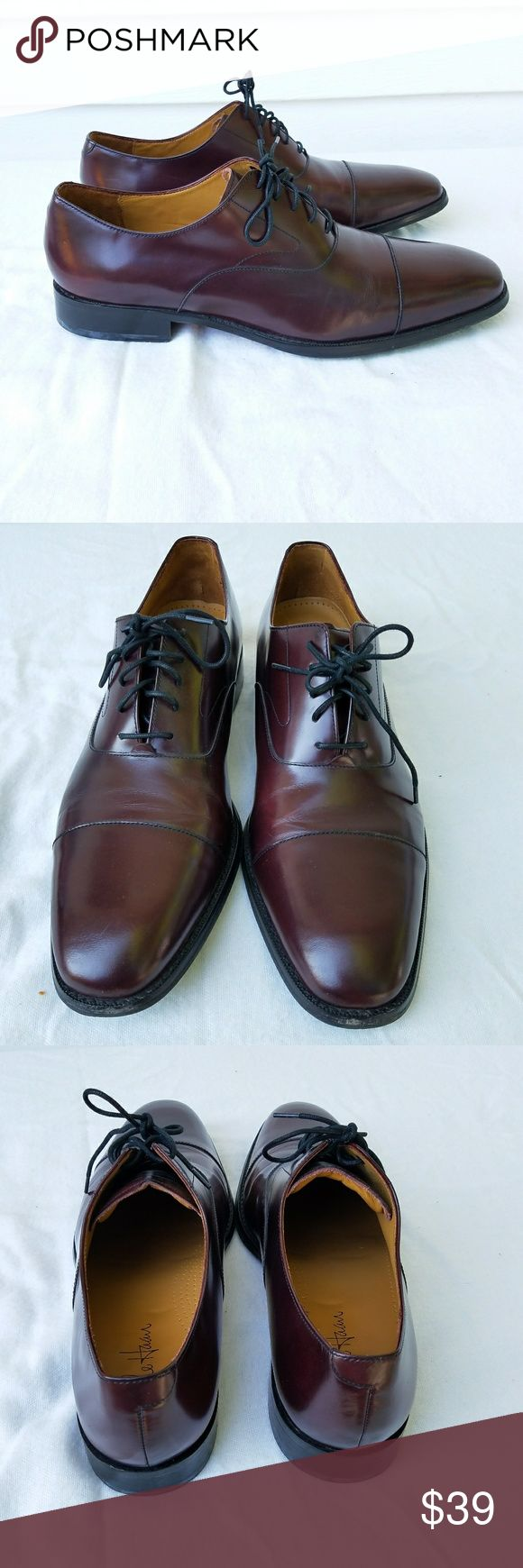 Cole Haan Garrett Cap Toe Derby Oxford Shoes Size 12. Burgundy. Very nice shape. Minor opaque or same color scuffs on inside of shoes/ toe area and a pen mark on the outside, can be seen in the photo.  No other issue.  There are a couple pictures that depicts a fading of color,  that's a reflection. Cole Haan Shoes Oxfords & Derbys