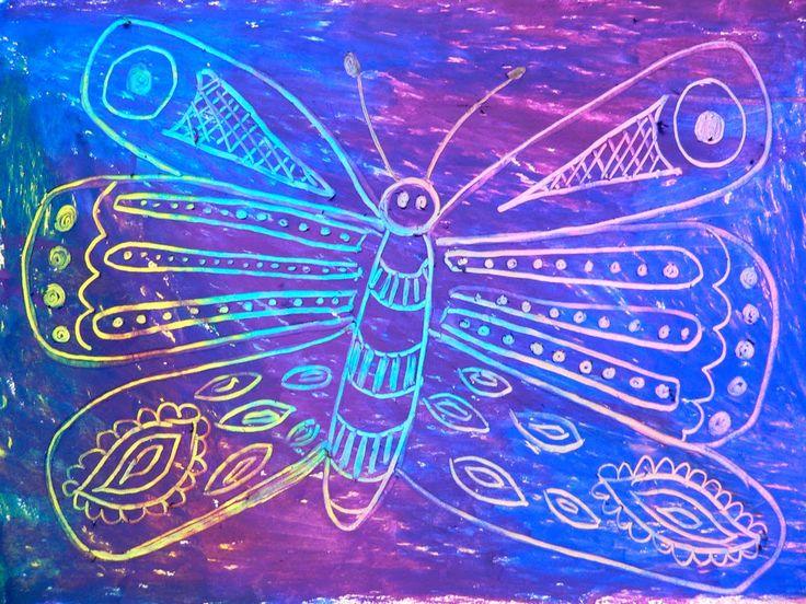 Splodge Podge Art: Butterfly- Oil pastel - quick art lessons by Louise De Masi