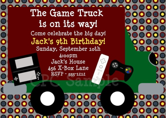 Video Game Truck Birthday Party Invitations | BIRTHDAY ...