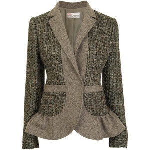 RED VALENTINO Tweed Flannel Single Breasted Jacket - Polyvore