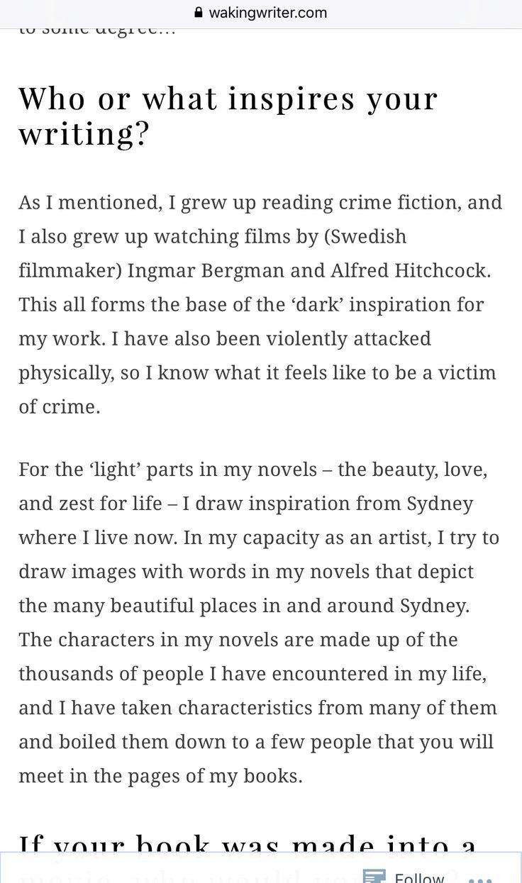 'Swedish author writes crime novels in Australia'. Interview with Swedish crime fiction author A.C. Efverman - by Waking Writer (USA).  #📘 #📚 #books #crimefiction #swedish #author #acefverman #interview #usa #sydney #australia #reading #fiction #bookish #böcker #deckare #läsning #författare