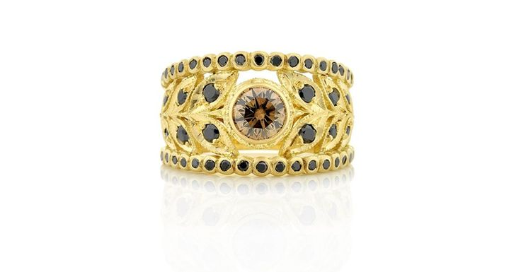 Wide Floral Leaf Filigree Yellow Gold Ring with Black Diamonds and Natural Cognac Coloured Diamond