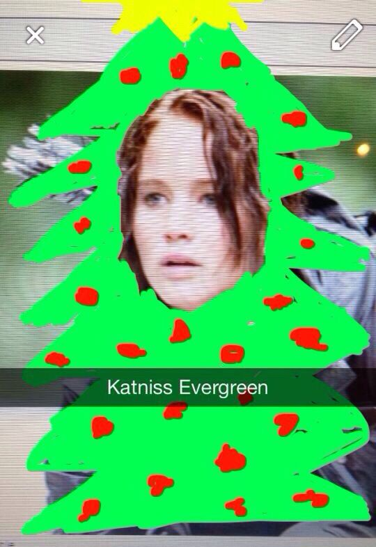 Lol haha funny pics / pictures / Katniss / Christmas Tree / Hunger Games Humor / Christmas / Snap Chat Ideas / App