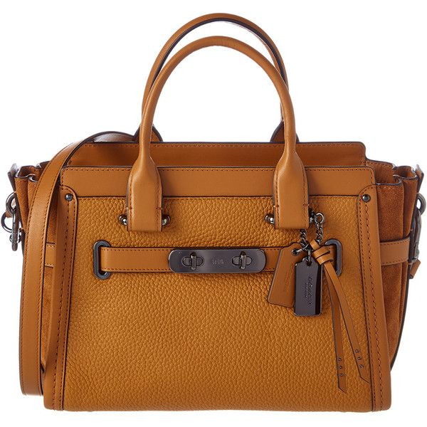 Coach Swagger 27 Leather Satchel ($360) ❤ liked on Polyvore featuring bags, handbags, nocolor, satchel purses, top handle satchel handbags, brown satchel handbag, coach handbags and brown satchel purse
