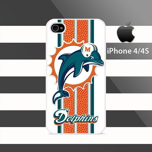 Miami Dolphins Texture stripes iphone 4 4s Rubber Case Cover