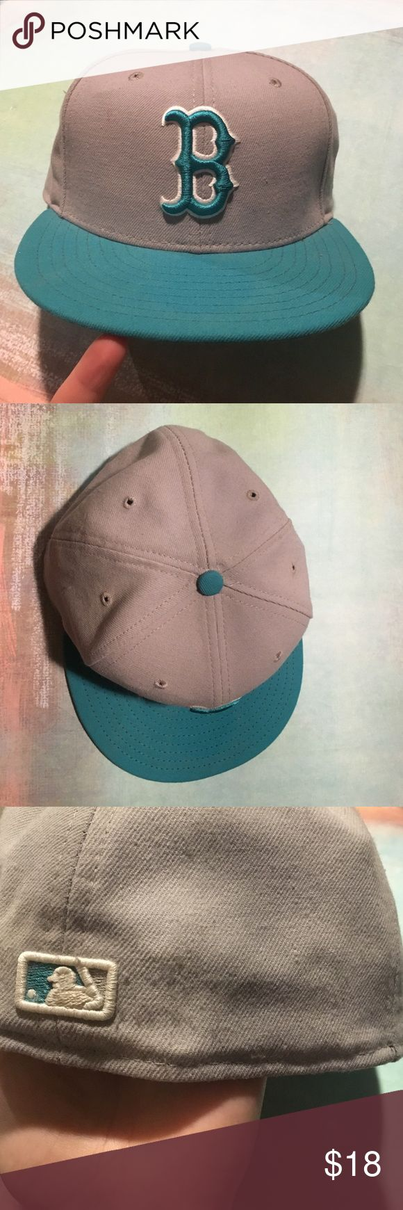 New Era MLB Fitted Baseball Cap New Era MLB Fitted Baseball Cap. Authentic.  Teal and grey, slightly worn. Size 7.5 or 59.6cm. New Era Accessories Hats