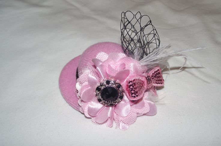 mini hat....can be added to a clip or a headband.... https://www.facebook.com/SatinWireAndLace
