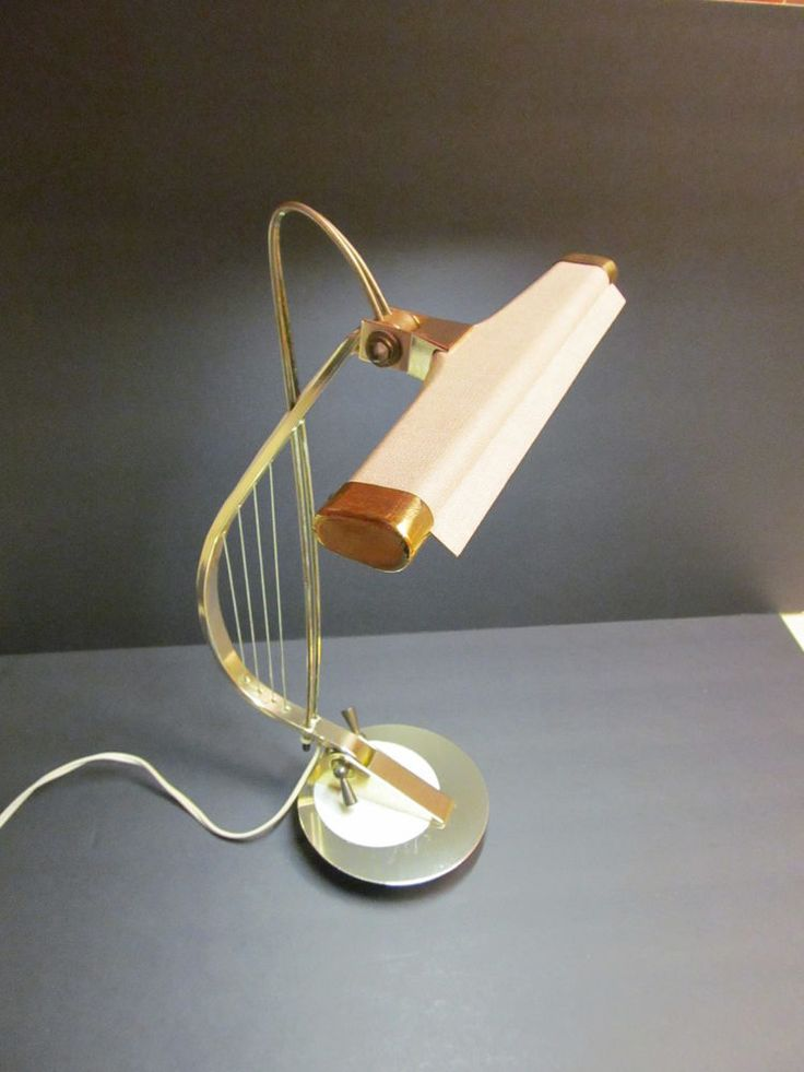 Vintage 60s Brass Harp Piano Desk Lamp Retro Lighting Mid Century Modern #Vintage