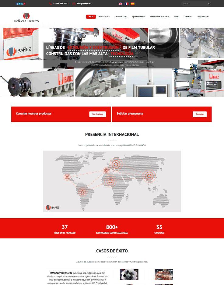 Diseño de página web corporativa para Ibañez Extrusoras, empresa dedicada a la fabricación líneas de extrusión de plástico.  En este proyecto se ha cuidado la imagen corporativa introduciendo los colores de la casa como leit motiv del aspecto formal del portal.
