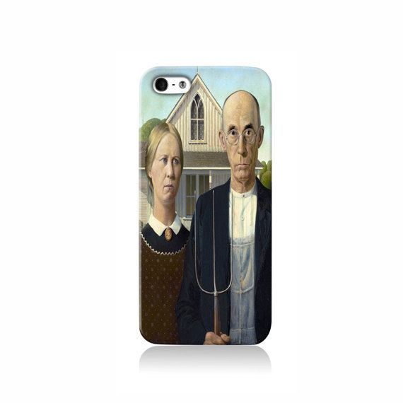 American Gothic By Grant Wood is available for iPhone 4/4S, iPhone 5/5s, iPhone 5c and new iPhone 6. The picture shows the design on an iPhone 5/5s
