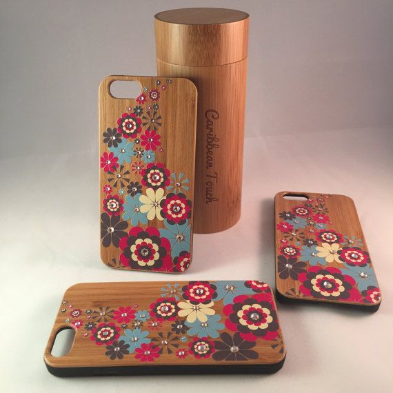 IPhone 6 Bamboo Case Wood IPhone Case flowers by CaribbeanTouchLLC