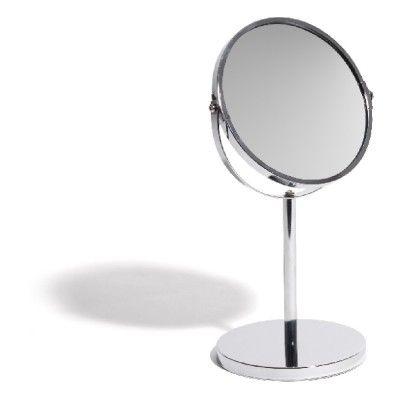 Miroir rond double face sur pied, dim. 15xh.34,5 cm, fer et verre.