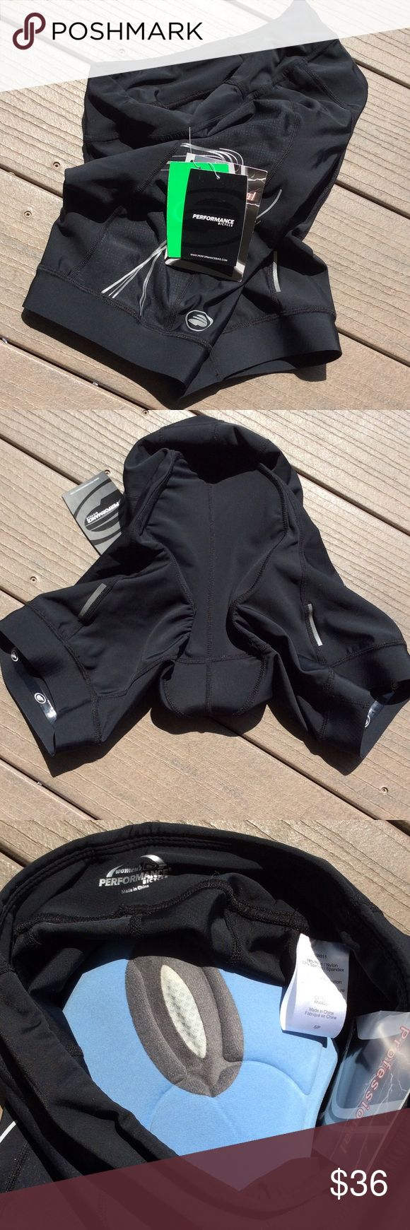 NWT, Women's padded performance bicycle shorts, S Black padded shorts with grip around thighs. Size small runs true to size. Smoke free and pet free home. Super nice!! Performance Bicycle Shorts