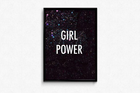 Feminist gift GIRL POWER as feminism printable wall art.