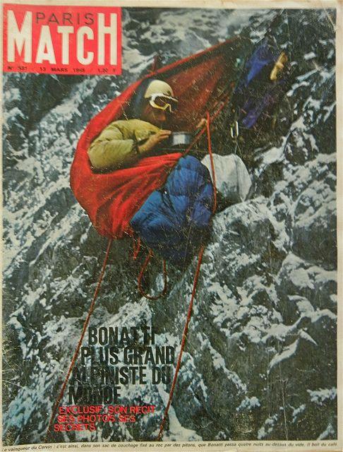The great Italian alpinist, Walter Bonatti, in his bivouac on the Matterhorn #climbing #mountainclimbing