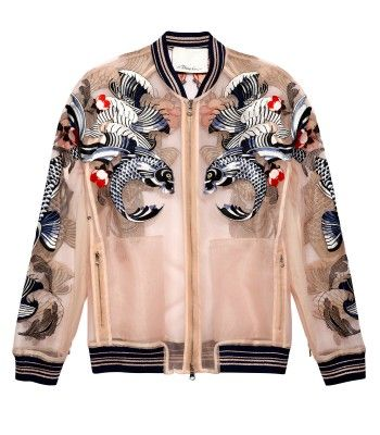 tattooed sheer embroidered bomber :: Be inspired by the style. Seek an inexpensive alternative at a vintage shop. {DIY option: add striped trim to a vintage bed jacket} TREND: sporty!