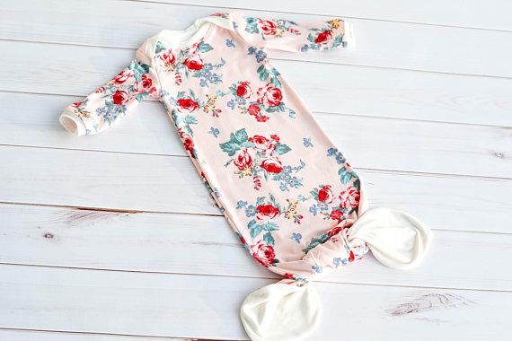 This stylish yet comfortable gown is so perfect for your baby girl and the floral print is to die for! Not only is it absolutely beautiful, but this double brushed polyester knit so comfy youll want to snuggle her in it all day long. It is definitely the perfect first outfit for your baby girl to come home in from the hospital, or for any occasion. If youd like to see more baby gowns in my shop, you can visit the baby section here: https://www.etsy.com/shop/Heavenly4getMeK...