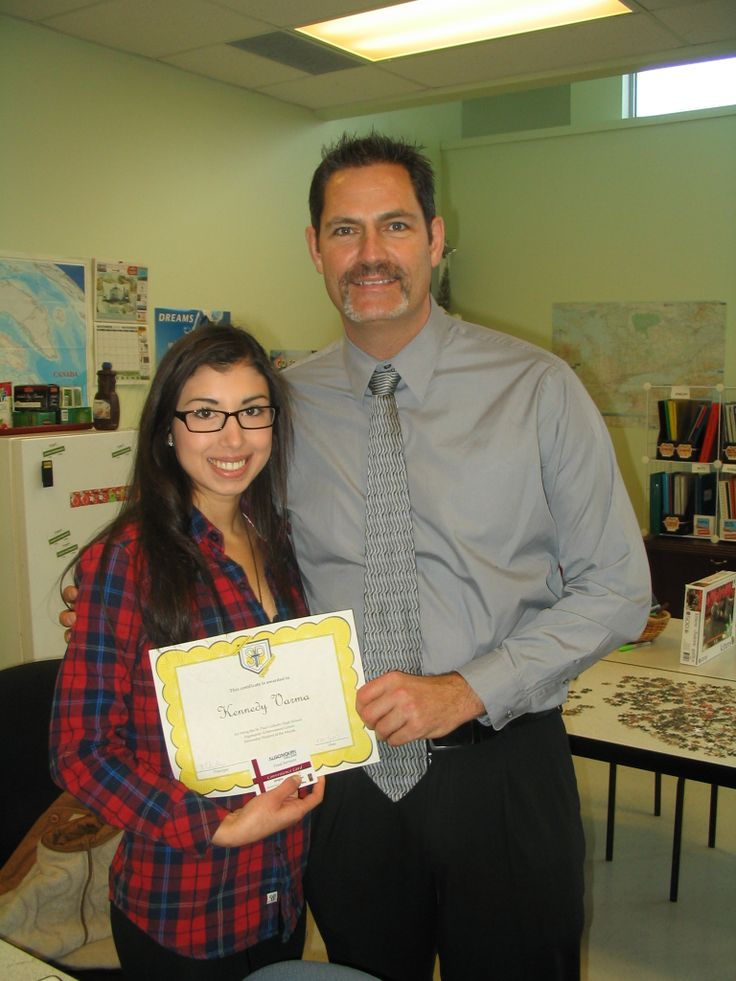 Kennedy Varma, our November Algonquin Achievement Centre Student of the Month, with Mr. Edwards.
