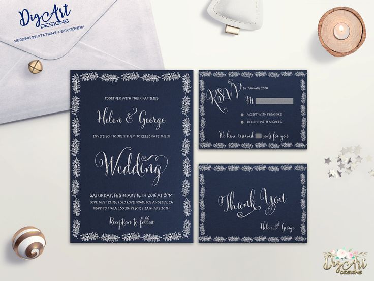 REPIN NOW for later! Winter Wedding Invitation Printable Wedding Invitation Suite Navy Silver Wedding Invite Typography Wedding Set DIY Wedding Digital Invite by DigartDesigns on Etsy