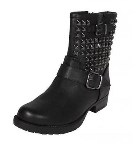 Kist! Studded Double Buckle Strap Motocycle Ankle Boots - lustacious