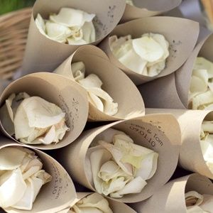 Cones of petals to throw as the bride and groom return down the aisle