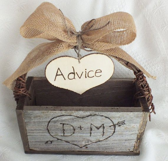 Rustic Wedding Advice Card Box And Burlap Wedding Decor on Wanelo