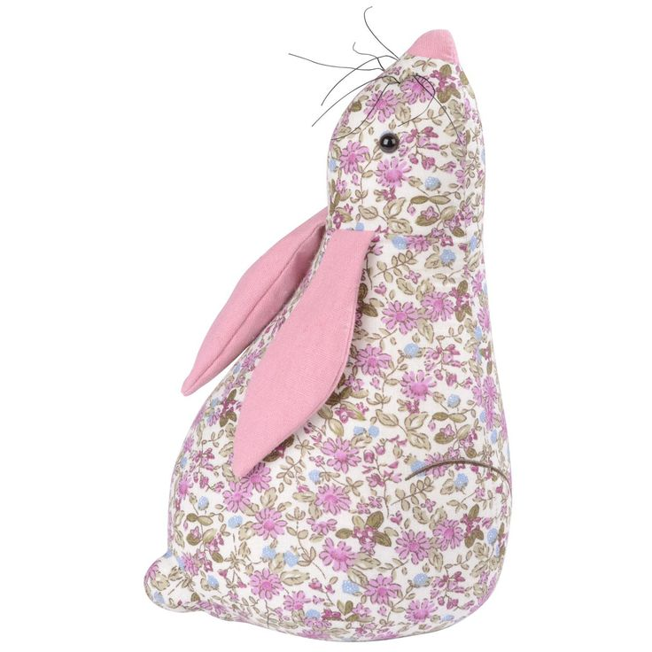 Think Pink Floral Hare Door Stop Achica Projects To
