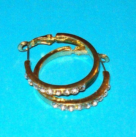 Gold Rhinestone Hoop Earrings - Mookie Designs Vintage