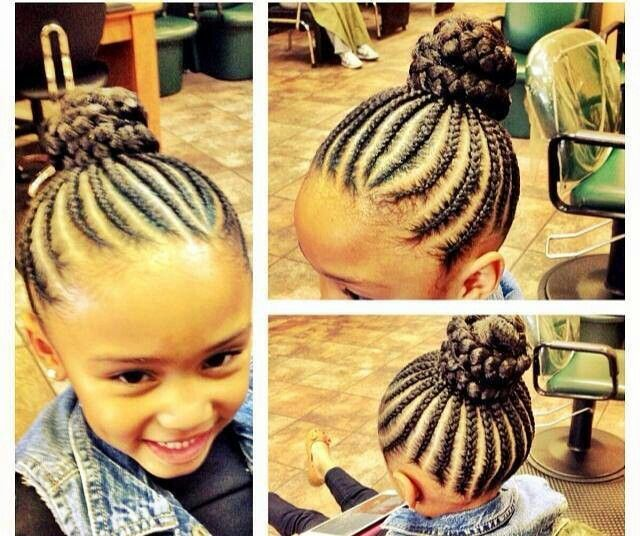Cute Cornrows And Bun Black Girl Natural Hair Kids