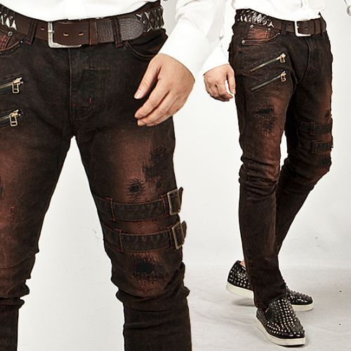 Extreme Vintage Double Belt Accent Grunge Wine Slim Jeans