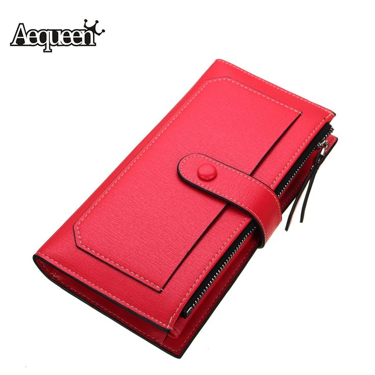 New Fashion Women Wallet Long Designer Leather Coin Purses Female Clutch Credit Card Holders Solid Candy Color Hasp Wallet Girls *** Find out more by clicking the image