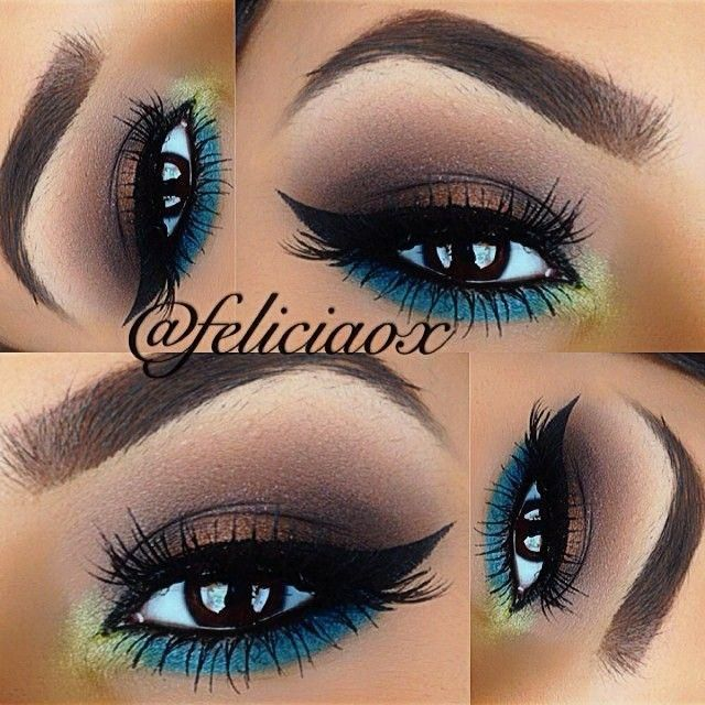 Fun Summer/Spring look that I'll actually try. Bright with teal/turquoise yet still neutral with satin & matte browns.