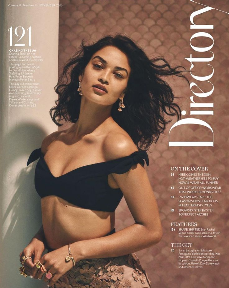 Model Shanina Shaik poses in bikini top with Cartier earrings for InStyle Magazine Australia November 2016 issue